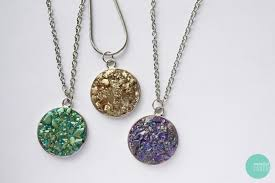 diy fake druzy quartz necklace tutorial