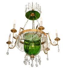 bell jar lighting fixtures. A Vintage Green Glass Bell Jar Chandelier W/Hanging Crystals For Sale Lighting Fixtures E