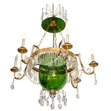 a vintage green glass bell jar chandelier w hanging crystals for