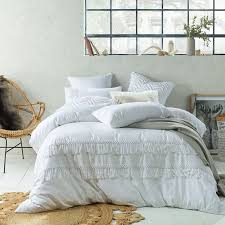 tassel white linen cotton quilt duvet cover set double queen king super king 1 of 2 see more