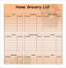 grocery list template printable sample grocery list template 9 free documents in word excel pdf