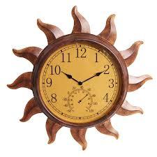 garden treasures indoor outdoor rustic sun thermometer with clocklarge clocks waterproof