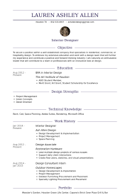 Sample Resume For Interior Designer