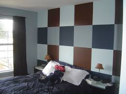 color design for bedroom. Color Designs For Bedrooms With Retro Astistic Wall Plaid Painting Gray Domination Design Schemes Bedroom