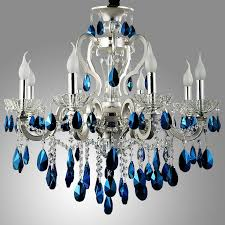 luxurious silver finished blue crystal chandelier 8 light 18 light