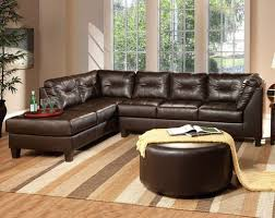 Leather Sectional Living Room Round Shaped Ottoman Coffee Table And Striped Carpet For Enticing