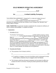 template for llc operating agreement free single member llc operating agreement templates pdf word