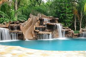 swimming pools with slides and waterfalls. Brilliant Pools Awesome Slidewaterfall For A Pool D What Do You Think Our Backyard  Jenn L Huffman To Swimming Pools With Slides And Waterfalls L