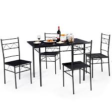 Costway Costway 5 Piece Dining Table Set 4 Chairs Wood Metal