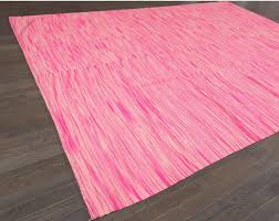 hand woven 21st century pink turkish kilim rug for