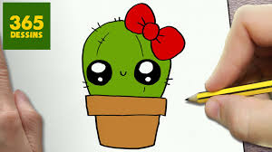 Comment Dessiner Cactus Kawaii Tape Par Tape Dessins Kawaii