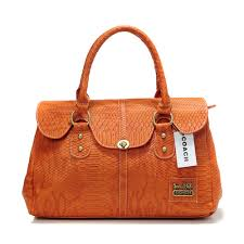 Coach Embossed Lock Medium Orange Satchels DEB