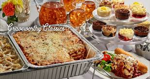 classic italian food like lasagna catered for a wedding receiption