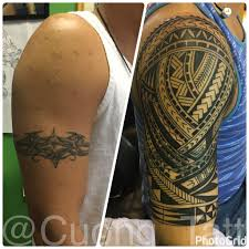 Polynesian Tribal Cover Up Halfsleeve Tattoo 1st Session Done