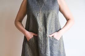 Grainline Patterns Simple The Farrow Dress By Grainline Studio In Kaufman Metallic Linen