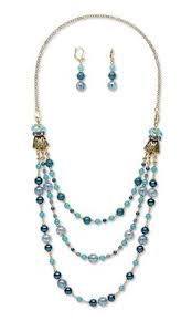 jewelry design triple strand necklace and earring set with celestial crystal beads