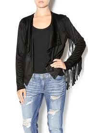 moon collection fringe sleeve suede jacket front cropped image