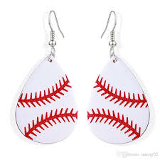 2019 new design waterdrop leather earrings sport baseball basketball football volleyball pu leather drop printing dangle earring multi color cust from
