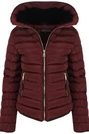 Womens Wine With Thick Coat Padded Jacket Warm Zip Quilted Black ... & Womens-Wine-With-Thick-Coat-Padded-Jacket-Warm- Adamdwight.com