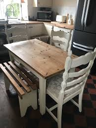 space saving furniture table. Small Space Saving Farmhouse Pine Shabby Chic Dining Table \u0026 Chairs (table 4ft X 2ft3 Furniture U