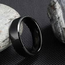 Online Shop Somen 8mm Black <b>Tungsten</b> Carbide Ring Polished ...