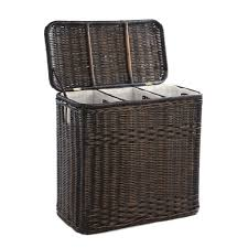 3-Compartment Wicker Laundry Hamper in Antique Walnut Brown shown with lid  open | The ...