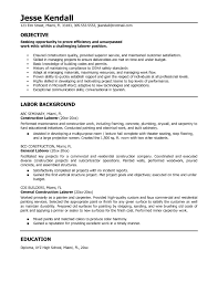 Labourer Resume Examples Extraordinary Resume Construction Worker Objective Also General 3