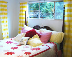 Teenage Bedroom Colors With Lovely Yellow And White Liner Sheer