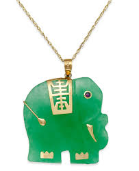 macy s women s green dyed jade elephant pendant necklace in 14k gold
