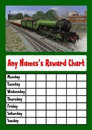 Green Train Star Sticker Reward Chart The Card Zoo
