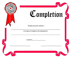 Templates For Certificates Of Completion Template Certificate Completion Template