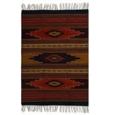 artisan crafted geometric wool area rug 4x6 ancestral diamonds