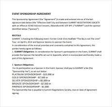 sponsorship agreement sample sponsorship agreement template examples