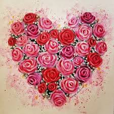 easy roses acrylic painting tutorial by angela anderson on you valentinesday heart roses acrylicpainting for kids acrylic painting
