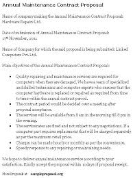 annual maintenance contract format for machine service contract proposal template
