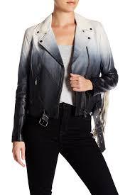 image of haute hippie genuine lamb leather fringe sleeve ombre jacket