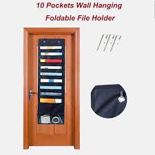 10 Pockets Chart Hanging Wall Folder Pocket Chart Black Hanging File Cascading Wall Organizer For School Classroom Home Office