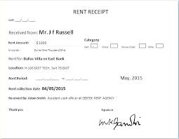 Rent Receipt Templates For Rental Receipt Example Of Rental Receipt