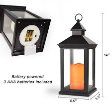 bright zeal 14 tall vintage decorative lantern with led flickering flameless candles black 8hr