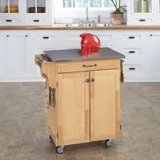 create a cart natural kitchen cart with stainless steel top