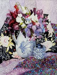 sweet peas in a blue and white jug with blue and white pot and textiles art print by joan thewsey all prints are professionally printed packaged