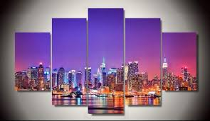 no frame printed new york city skyline poster 5 piece painting wall art room decor poster on new york city skyline canvas wall art with no frame printed new york city skyline poster 5 piece painting wall