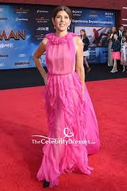 Marisa Bridal Size Chart Marisa Tomei Hot Pink Ruffled Formal Dress Premiere Of
