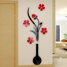 53 black vase and red flowers acrylic 3d wall stickers