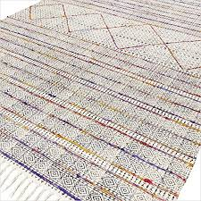 eyes of india 4 x 6 ft white colorful cotton block print area accent overdyed dhurrie rug flat weave woven boho chic indian bohemian