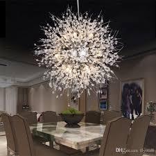 compre lâmpada de dente de lâmpada moderna de dente de leão chandeliers de cristal iluminação lâmpada pendente de bola globo para sala de jantar quarto de