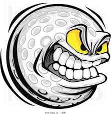 ilration of vector cartoon golf ball with mean face vector art clipart and stock vectors