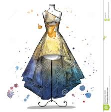 Mannequin With A Long Dress Fashion Illustration Stock Vector