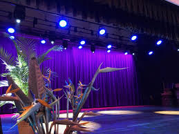 the school theatre where students put on a variety of playusical performances had a lighting and sound system that was extremely poor with no