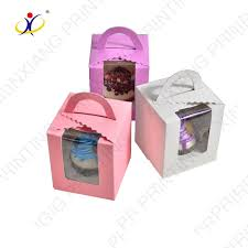 Custom Design Cupcake Boxes Printed New Rectangular Paper Cake Boxes With Handle Window Design Paper Box Custom Printedcupcake Boxes With Handle Buy Mini Cupcake Boxes And